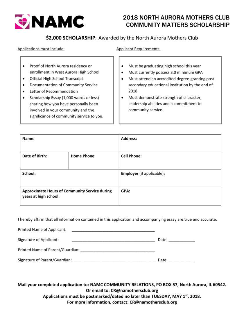 2018 NAMC Scholarship Application-1