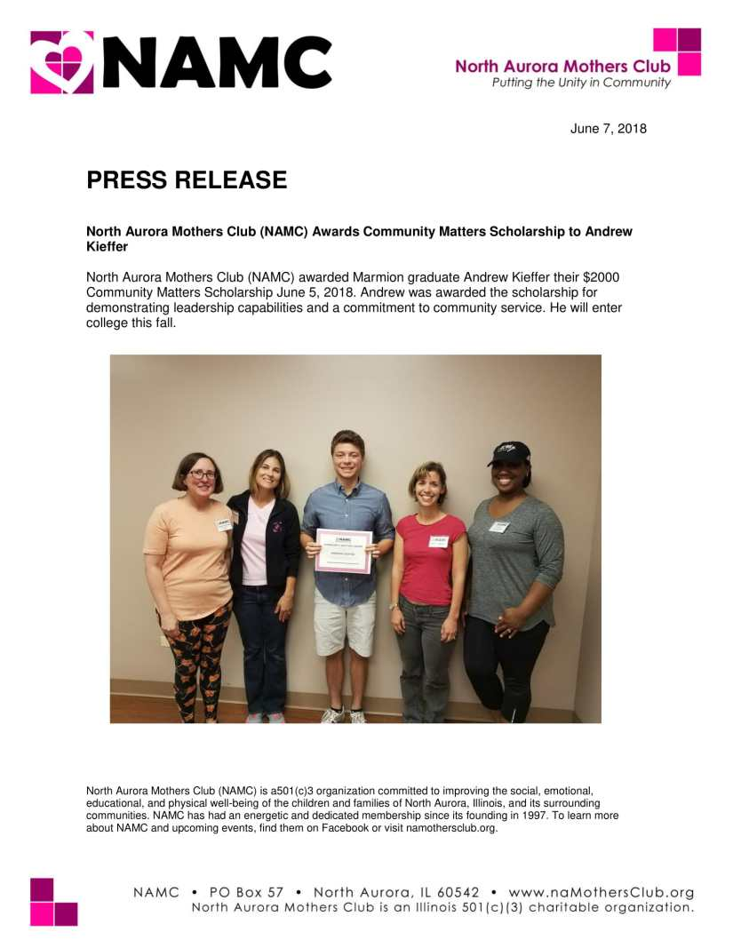 Andrew Kiefer Press Release