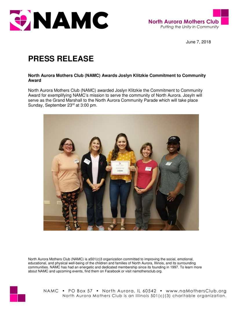 Joslyn Klitzkie Press Release